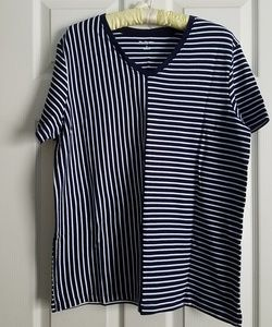 Navy Blue & White Contrast Stripe Loose Fit Top